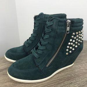 Aldo studded spike hidden wedge green sneaker shoe